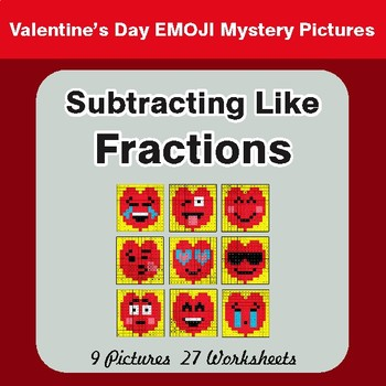 Subtracting Like Fractions - Color-By-Number Valentine's Math Mystery Pictures