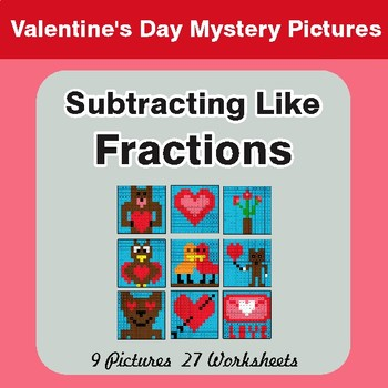 Valentine's Day: Subtracting Like Fractions - Color-By-Number Math Mystery Pictures