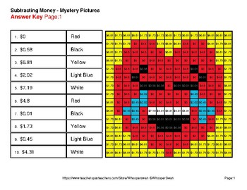 Subtracting Money - Color-By-Number Valentine's Math Mystery Pictures