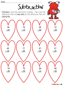 Valentine's Day Subtraction - 2 and 3 Digit - w/ and w/o Re-grouping