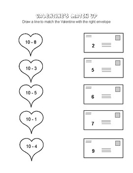 Valentine's Day Subtraction Match-up