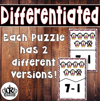 Valentine's Day Subtraction Puzzles