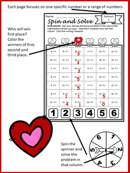Valentine's Day Activities Subtraction Spin and Solve Math Centers