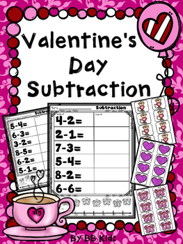 Valentine's Day Subtraction {Subtract by Counting and Drawing} Kindergarten