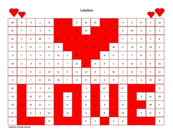 Valentines Day Hidden Picture Subtraction to 20