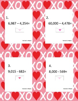 Valentine's Day Subtraction with Regrouping Task Cards