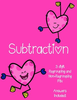 Valentine's Day Subtration Worksheets - Mix regrouping and non-regrouping