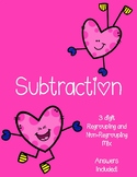 Valentine's Day Subtration Worksheets - Mix regrouping and