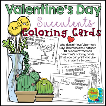 Succulents Valentine's Day Cards (Coloring Cards)