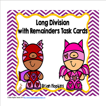 Valentine's Day Superheroes Long Division Task Cards