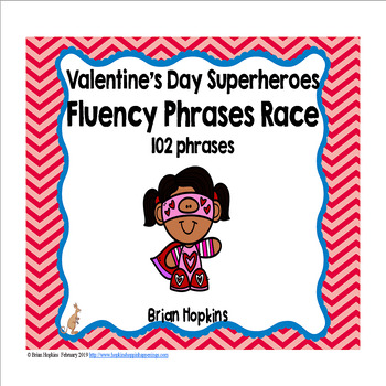 Valentine's Day Superheroes Sight Word Fluency Phrases Race