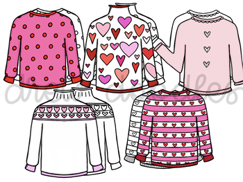 Valentine's Day Sweaters- Color and Black Line COMBO