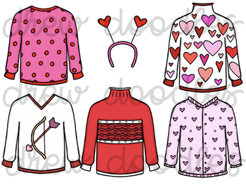 Valentine's Day Sweaters Digital Clip Art Set