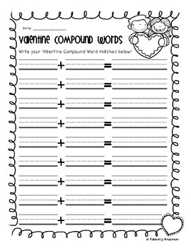 Valentine's Day Sweet Treat Compound Words Match