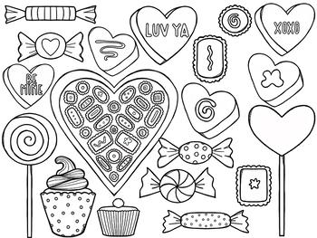 Valentine's Day Sweets Digital Clip Art Set- Black Line Version