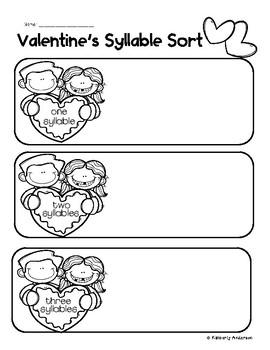 Valentine's Day Syllables Sort Practice