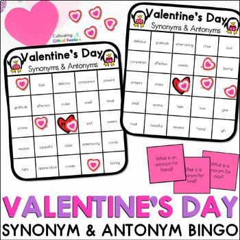 Valentine's Day Synonym and Antonym BINGO