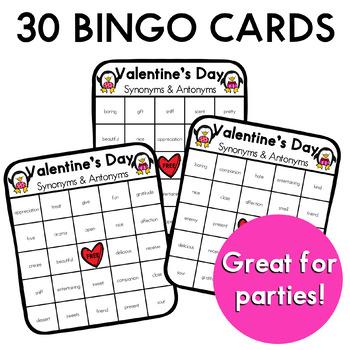 Valentines Day Synonym and Antonym BINGO