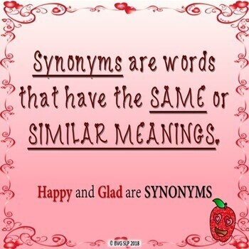 Valentine's Day Synonym and Antonym BOOM CARDS NO PRINT - Teletherapy