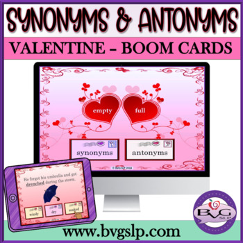 BOOM CARDS Synonyms and Antonyms Valentine's Day NO PRINT - Teletherapy