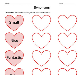Valentine's Day Synonyms, Antonyms, and Multiple Meaning Words