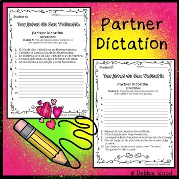 Spanish Valentines Day Worksheets and Cards