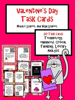 Valentine's Day Task Cards Middle School and High School