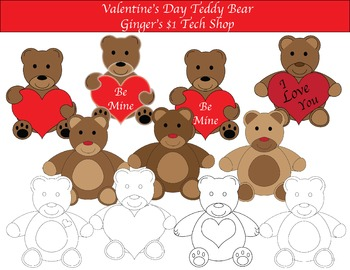 Valentine's Day * Teddy Bear Clipart * Love * Color and BW