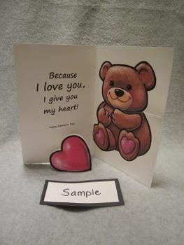 Valentine's Day Teddy Bear Heart Card Fun Art Craft