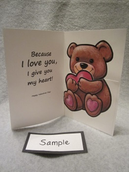 Valentine's Day Teddy Bear Heart Card Fun Art Craft