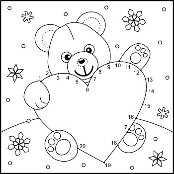 Valentine's Day Teddy Bear with Big Heart Connect the Dots and Coloring Page, CU