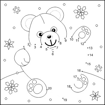Valentine's Day Teddy Bear with Heart Connect the Dots and Coloring Page, Non-CU