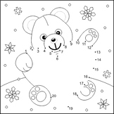 Valentine's Day Teddy Bear with Heart Connect the Dots and