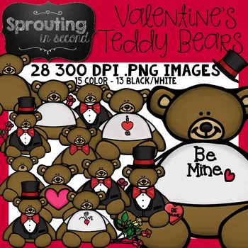 Valentine's Day Clipart  {Teddy Bears}