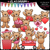 Valentine's Day Teddy Bears - Clip Art & B&W Set