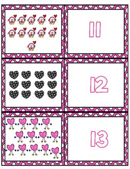 Valentine's Day Teen Number Matching Cards