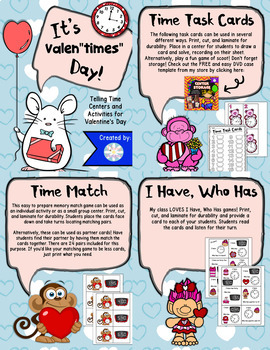 "Valentine's Day Telling Time - Valen""times"" Day Centers"