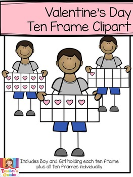 Valentine's Day Ten Frame Clipart