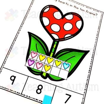 Valentine's Day Ten Frame Task Cards