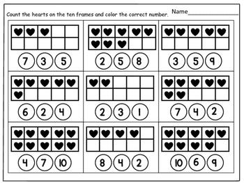 Valentine's Day Ten Frames Activity from 1-20
