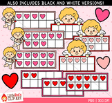 Valentine's Day Ten Frames Clip Art