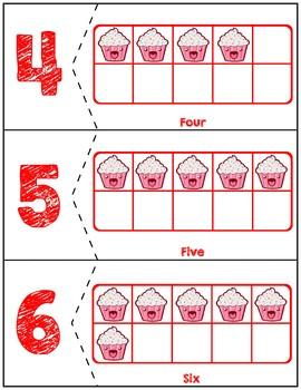 Valentine's Day Ten Frames Matching Activity | Cake