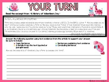 Valentineu0027s Day Text Evidence Paragraphs Sentence Sorting Activity