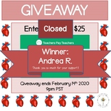 Valentine's Day Thank You: $25 TPT Gift Card Giveaway!