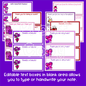 Valentine's Day Thank You Note Cards Editable