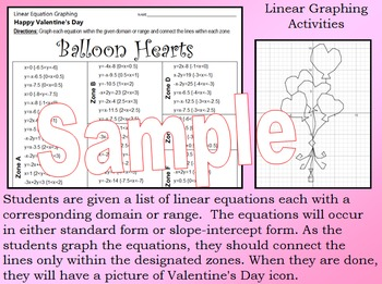 Valentine's Day - The Big Bundle - 10 Linear Equation Graphing Activities
