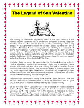 valentine 39 s day the legend of saint valentine reading comprehension. Black Bedroom Furniture Sets. Home Design Ideas