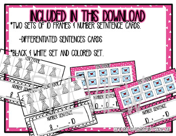 Valentine's Day Themed 10 Frame Matching Game--Math Center