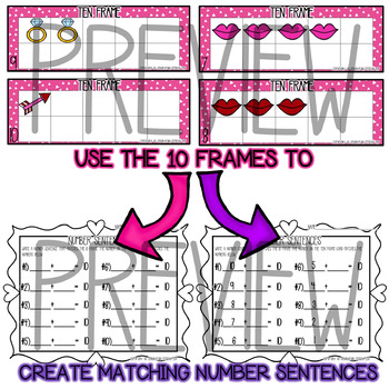 Valentine's Day Themed 10 Frames & Number Sentences