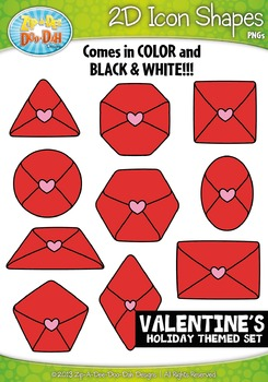 Valentine's Day 2D Icon Shapes Clipart {Zip-A-Dee-Doo-Dah Designs}